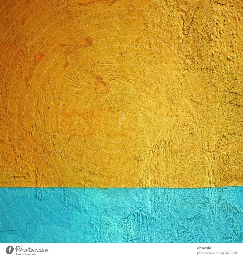 Sonnenaufgang blau Farbe Wand Farbstoff Mauer Gebäude orange Fassade Bauwerk Putz abstrakt mehrfarbig Strukturen & Formen gestrichen Komplementärfarbe