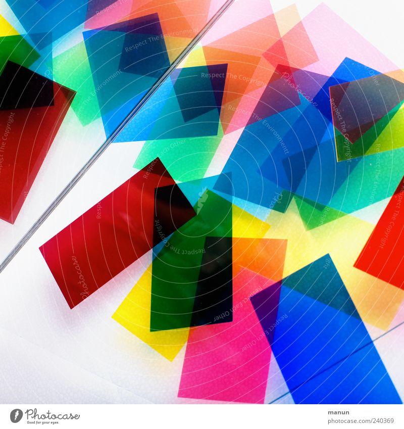 bunt II Kitsch Krimskrams Rechteck Kunststoff Linie Streifen liegen authentisch eckig einfach blau gelb grün rot chaotisch Design Farbe Farbfoto mehrfarbig