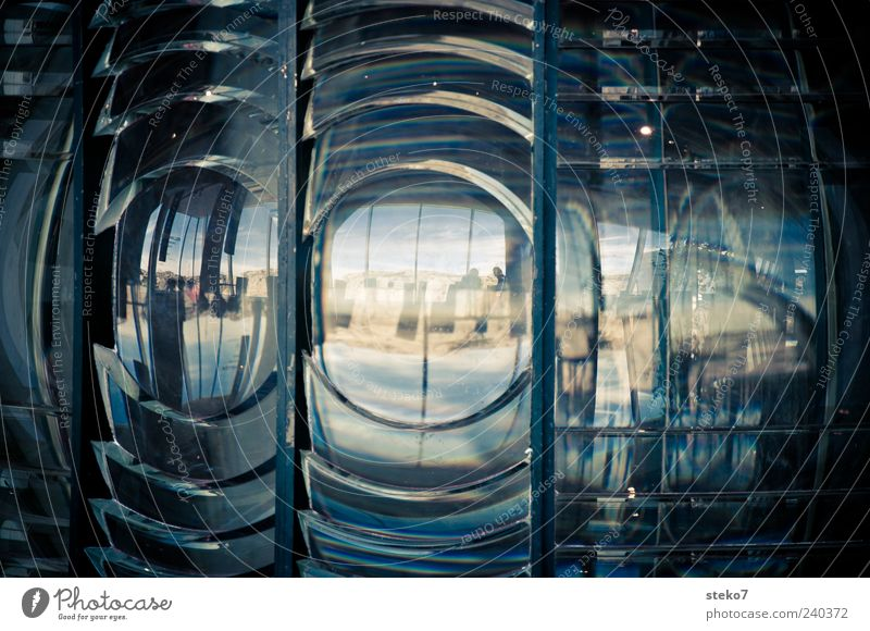 Leuchtturmauge blau grün Glas Perspektive rund Reflexion & Spiegelung Reflektor