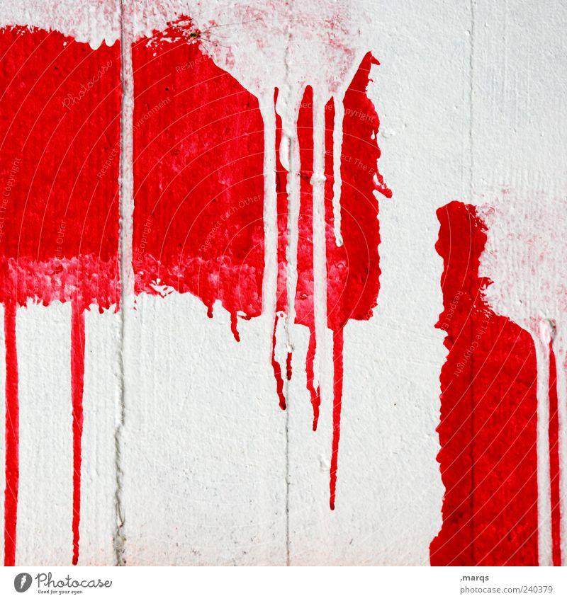 Angeschmiert Stil Design Kunst Mauer Wand Fassade Beton Tropfen authentisch außergewöhnlich einzigartig rot weiß Farbe skurril Farbstoff Vergänglichkeit Verlauf