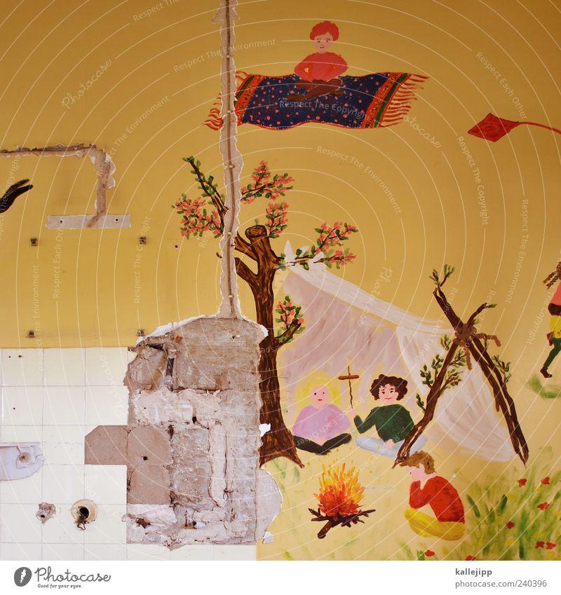 urlaubsflieger fliegen Teppich Märchen Feuerstelle kaputt Farbfoto mehrfarbig Innenaufnahme Licht Schatten Kontrast Menschenleer bemalt Wand Demontage