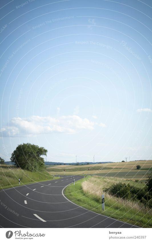 Die Straße entlang Landschaft Himmel Sommer Feld Verkehr Verkehrswege Wege & Pfade Natur Ferien & Urlaub & Reisen Umwelt Kurve Farbfoto Außenaufnahme