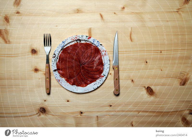 Wurstteller Ernährung Teller Abendessen Fett Messer Festessen Besteck Wurstwaren Gabel Lebensmittel Holztisch Fleisch Gedeck Völlerei Salami