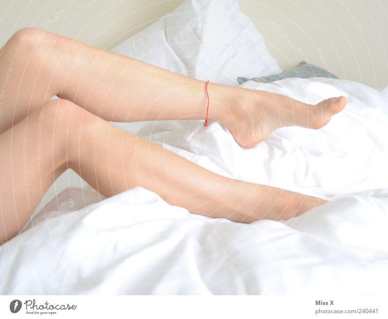 nicht flüchtig Mensch Jugendliche weiß schön ruhig Erwachsene Erholung feminin Beine Fuß Junge Frau liegen Haut 18-30 Jahre Bett Bettwäsche