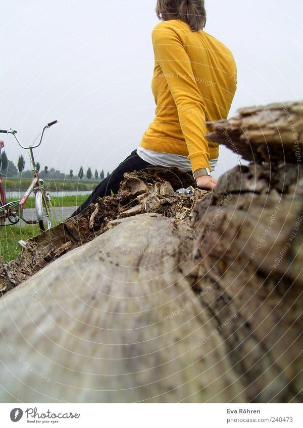 Klappradtour Mensch Natur Jugendliche Ferien & Urlaub & Reisen grün Baum Erholung gelb Holz Wege & Pfade Denken träumen braun Zeit Junge Frau Zufriedenheit