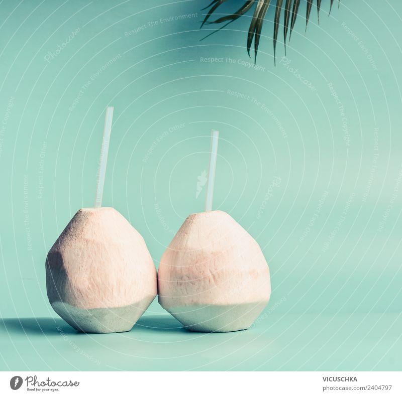 Kokosnus Wasser oder Cocktail Natur Ferien & Urlaub & Reisen Sommer Gesunde Ernährung Strand Gesundheit Hintergrundbild Stil Design Trinkwasser Getränk türkis