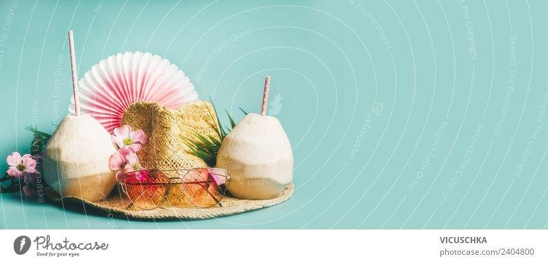 Banner mit Sommer Strand Accessoires Ferien & Urlaub & Reisen blau schön Blume Erholung Freude Stil Mode rosa Design Dekoration & Verzierung Abenteuer Getränk
