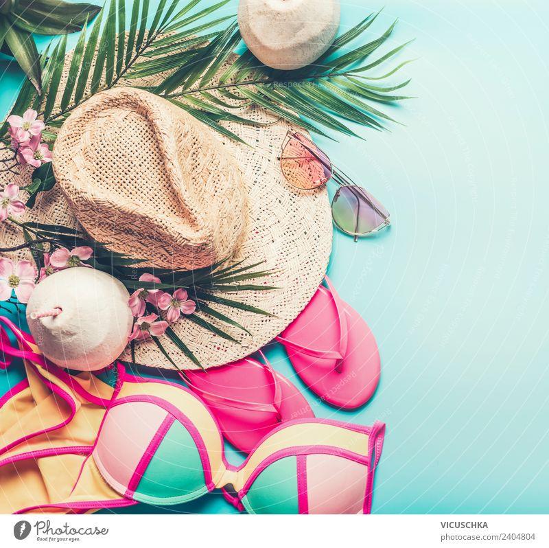 Sommer Strand Sachen Ferien & Urlaub & Reisen Freude Lifestyle feminin Stil Mode Party rosa Design Freizeit & Hobby Sommerurlaub trendy Hut Sonnenbad
