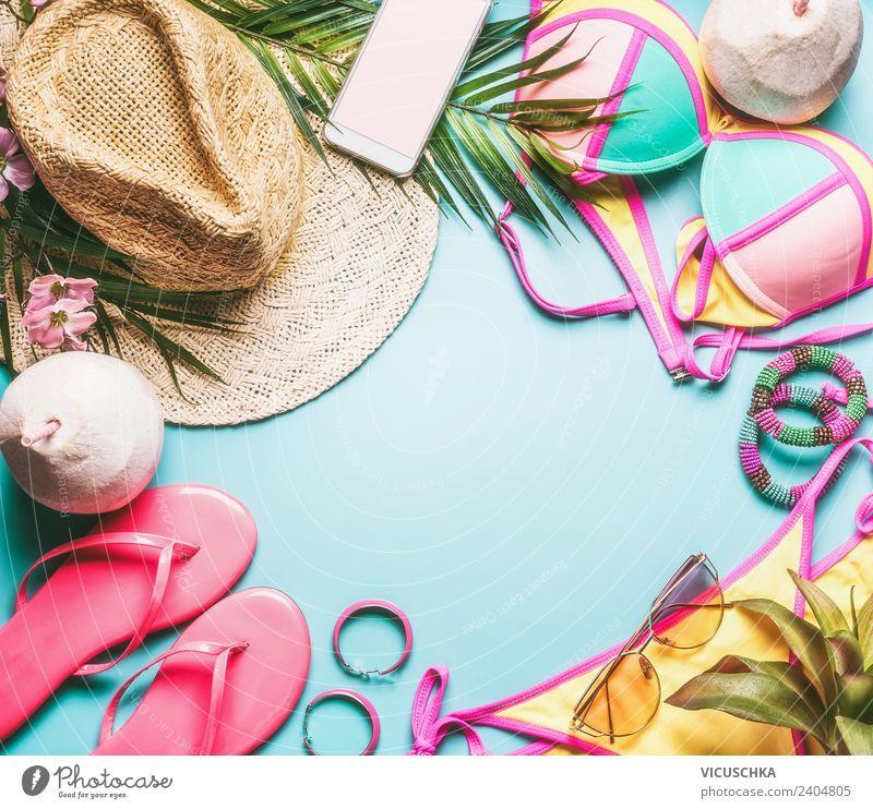 Sommer ferien oder Strandurlaub Sachen Ferien & Urlaub & Reisen Freude Lifestyle gelb Hintergrundbild Stil Mode rosa Stimmung Design Freizeit & Hobby kaufen