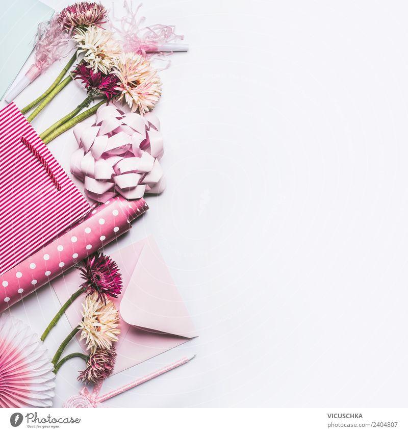 Geschenk und Blumen verpacken Pflanze weiß Blatt Hintergrundbild Blüte Stil Feste & Feiern rosa Design Dekoration & Verzierung Geburtstag kaufen Papier Hochzeit