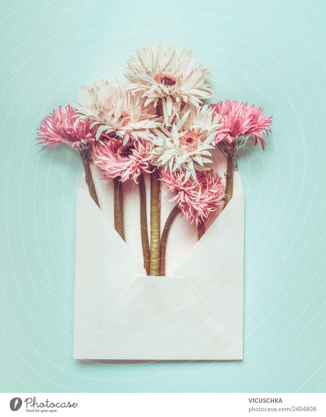 Pastell Blumen im Briefumschlag Stil Design Sommer Schreibtisch Feste & Feiern Valentinstag Muttertag Hochzeit Geburtstag Pflanze Papier Dekoration & Verzierung