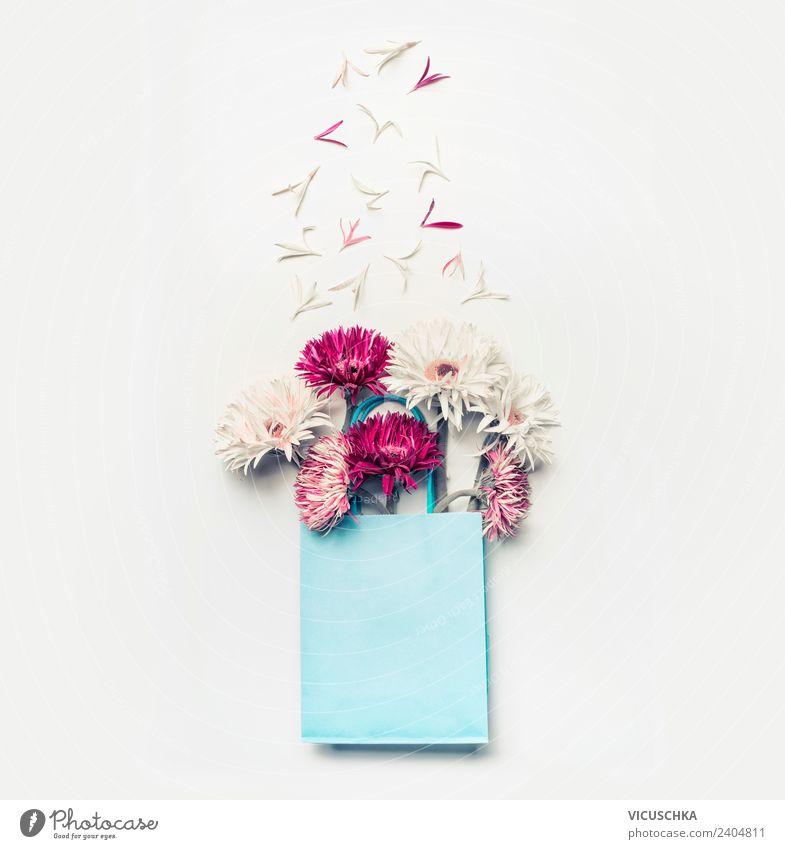 Schöne Blumen in blauer Geschenktüte kaufen Design exotisch Leben Sommer Valentinstag Muttertag Hochzeit Geburtstag Natur Blatt Blüte Dekoration & Verzierung