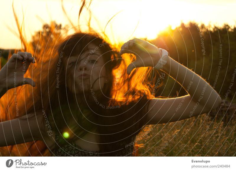 Du liebst mich, ich lieb' dich Mensch Jugendliche Hand weiß schön rot Gesicht gelb feminin Haare & Frisuren Glück Kopf lustig Junge Frau Kindheit Mund