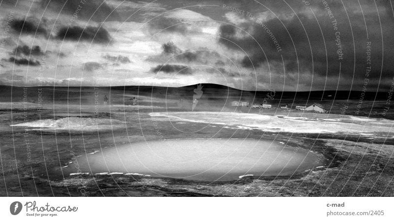 Heiße Quellen Wasser Wolken Stimmung heiß Island Hochebene