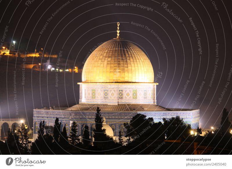 Felsendom in Jerusalem bei Nacht Israel Stadtzentrum Altstadt Dom Bauwerk Gebäude Architektur Sehenswürdigkeit Wahrzeichen Ferien & Urlaub & Reisen alt
