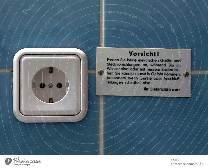 Gib ihm Elektrizität! Steckdose Warnhinweis Warnschild Bad Siebziger Jahre Häusliches Leben Schilder & Markierungen blau
