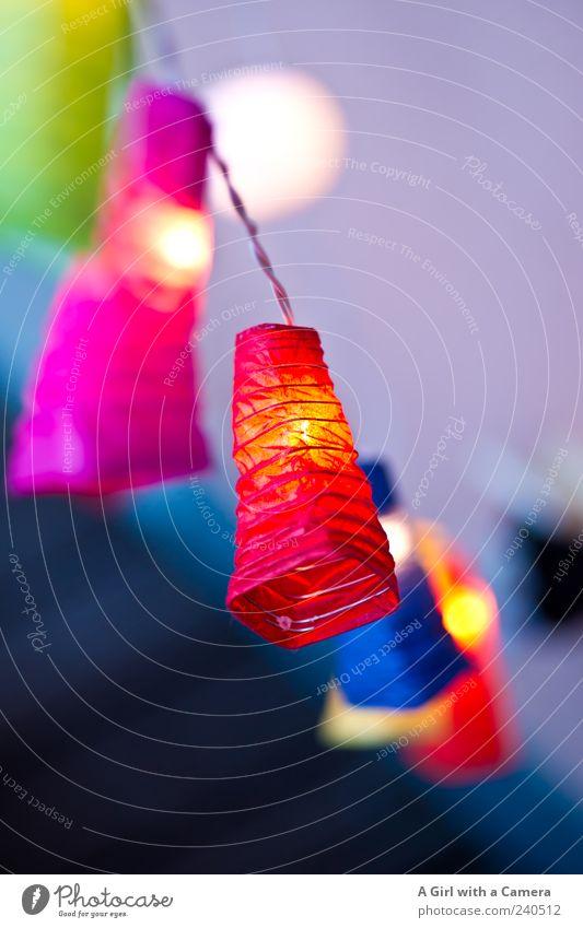 ein bisschen rumhängen und gut aussehen Stil Dekoration & Verzierung leuchten trendy blau mehrfarbig grün rosa rot Lichterkette Lampion baumeln Sommer