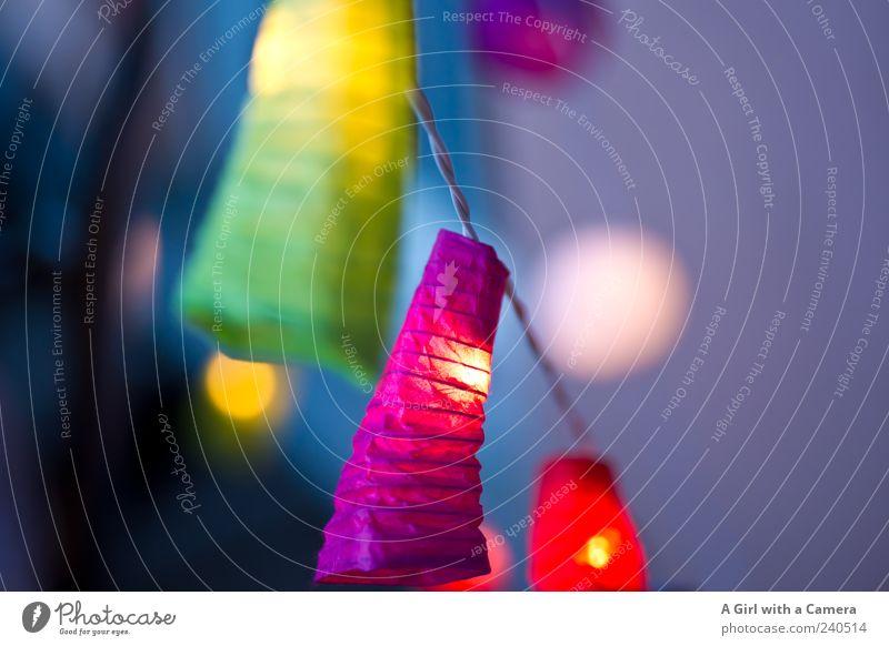 jetzt wirds gemütlich Stil Dekoration & Verzierung hängen leuchten trendy mehrfarbig gelb grün rosa rot Elektrizität Lampion Lichterkette Sommerabend sommerlich