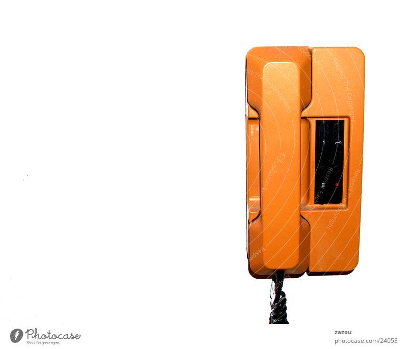 Haustelefon 70er Jahre orange Telefon Häusliches Leben Siebziger Jahre Telefonhörer Türöffner Wandtelefon