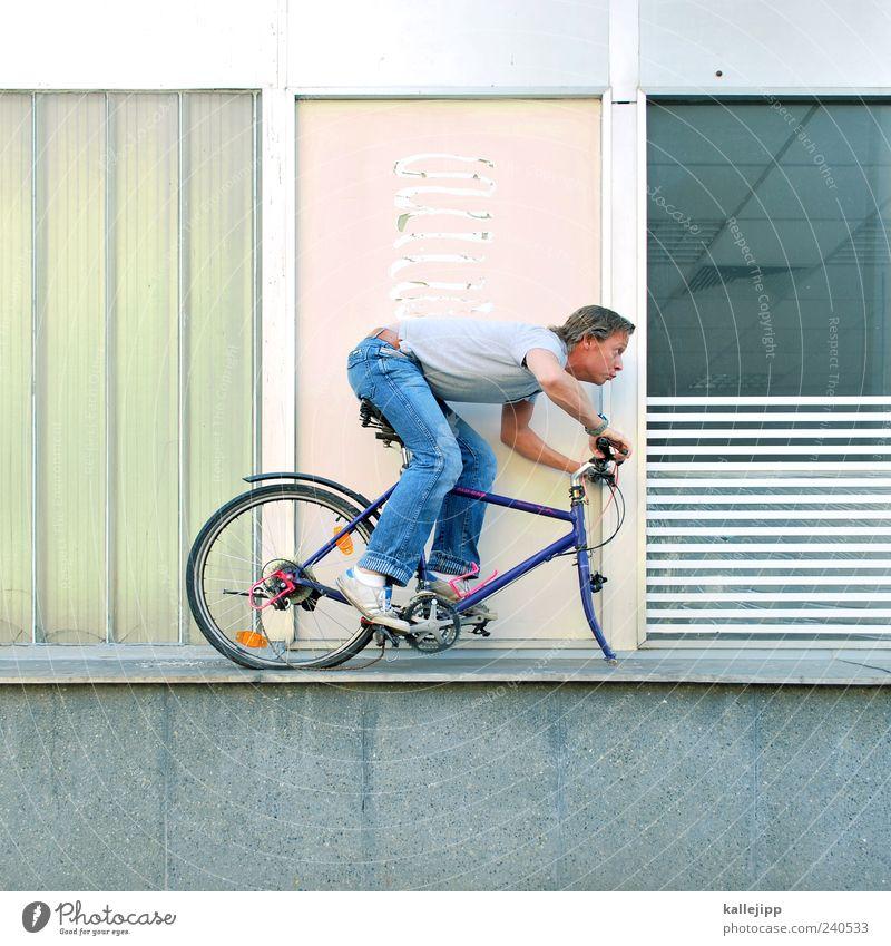 mach es zu deinem projekt Mensch Mann Erwachsene Fahrrad Freizeit & Hobby außergewöhnlich Verkehr kaputt bedrohlich Wunsch skurril Risiko Fahrradfahren Rad