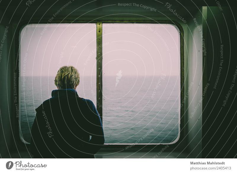 Don`t pay the ferryman... Mensch feminin Frau Erwachsene Leben 1 45-60 Jahre Fenster Schifffahrt Passagierschiff An Bord Mantel Haare & Frisuren blond Blick