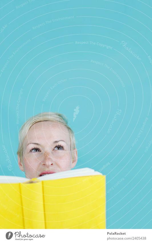 #A# Literarische Weitsicht Frau gelb Kunst Schule Denken ästhetisch Kultur Kreativität lernen Buch Idee Studium lesen Bildung Suche Wissenschaften