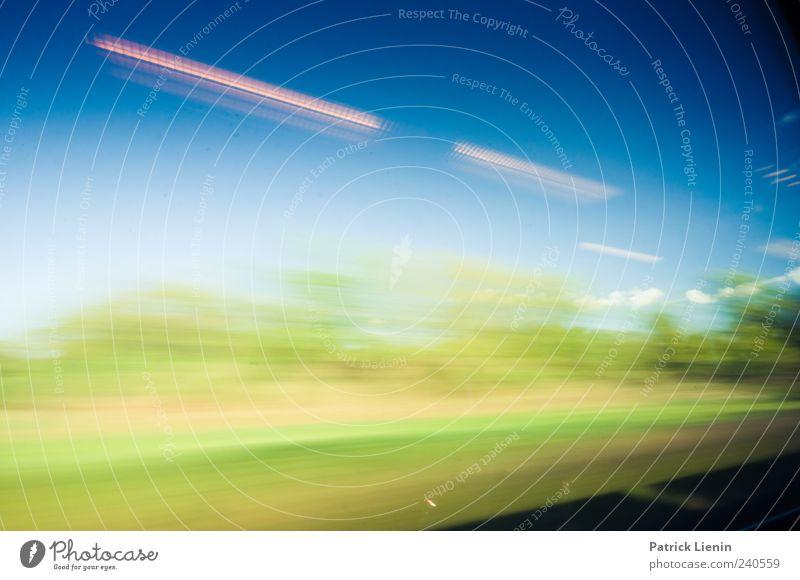 Bahn macht mobil Natur blau Ferien & Urlaub & Reisen Umwelt Landschaft Bewegung Verkehr Geschwindigkeit Perspektive fahren Rausch Fensterblick
