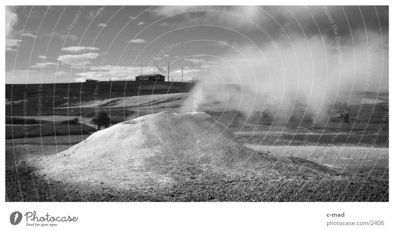 Minivulkan Wasser Wolken Stimmung heiß Rauch Island Quelle Hochebene