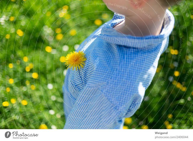 Frühlings-Souvenier Kind Mensch Ferien & Urlaub & Reisen grün Blume Freude Mädchen gelb Junge Glück Zufriedenheit träumen Kindheit frisch Fröhlichkeit