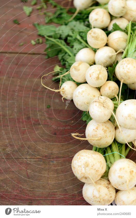 Mairübchen Ernährung Lebensmittel Holz Gesundheit frisch Gesunde Ernährung Gemüse lecker Bioprodukte Vegetarische Ernährung Wurzelgemüse Holztisch Knolle Muster
