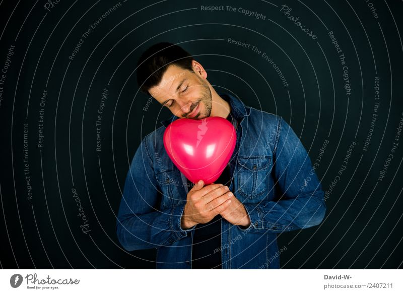 Liebe liegt in der Luft elegant Leben harmonisch Wohlgefühl Zufriedenheit Sinnesorgane Valentinstag Muttertag Mensch maskulin Mann Erwachsene Gesicht 1 Kunst