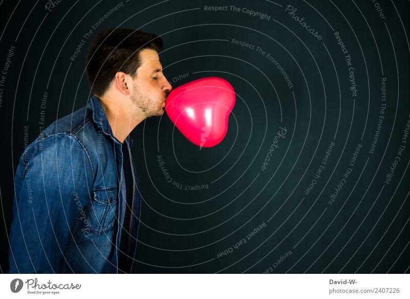 Liebe liegt in der Luft II Mensch Jugendliche Mann schön Junger Mann rot Freude Erwachsene Leben Glück Kunst Feste & Feiern maskulin Geburtstag