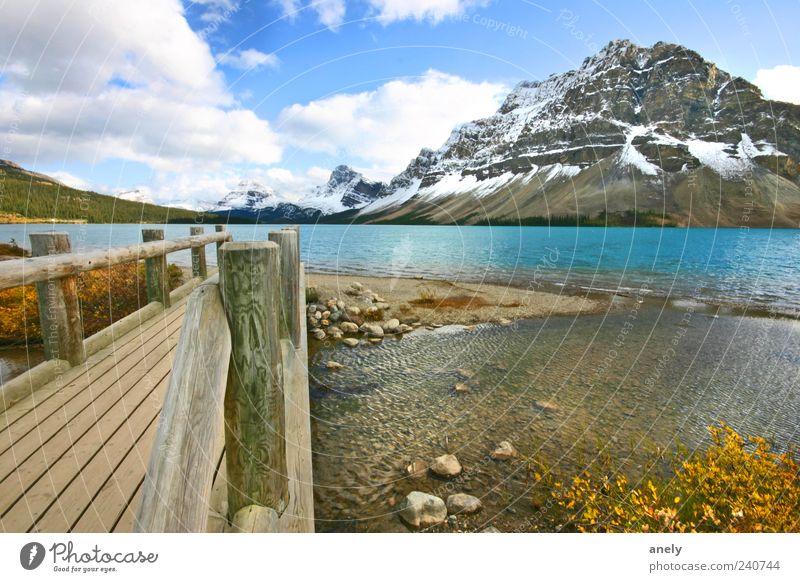 Postkarte aus Kanada Natur blau Wasser schön Einsamkeit Wolken Ferne Landschaft Berge u. Gebirge Gefühle Freiheit See Zufriedenheit wild ästhetisch einzigartig