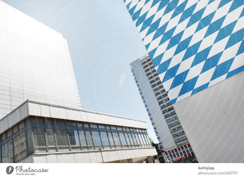 bavaria blau weiß Stadt Haus Architektur Gebäude Hochhaus Bayern Hauptstadt
