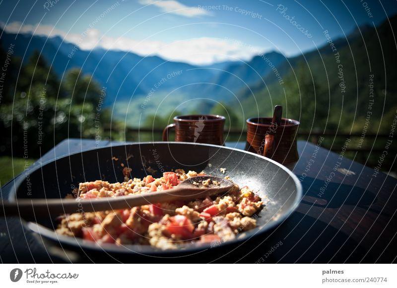 Rührei mit Speck! Ferien & Urlaub & Reisen Sommer Landschaft Ernährung Berge u. Gebirge Kraft Getränk Kaffee Alpen Lebensmittel Aussicht Tasse Frühstück
