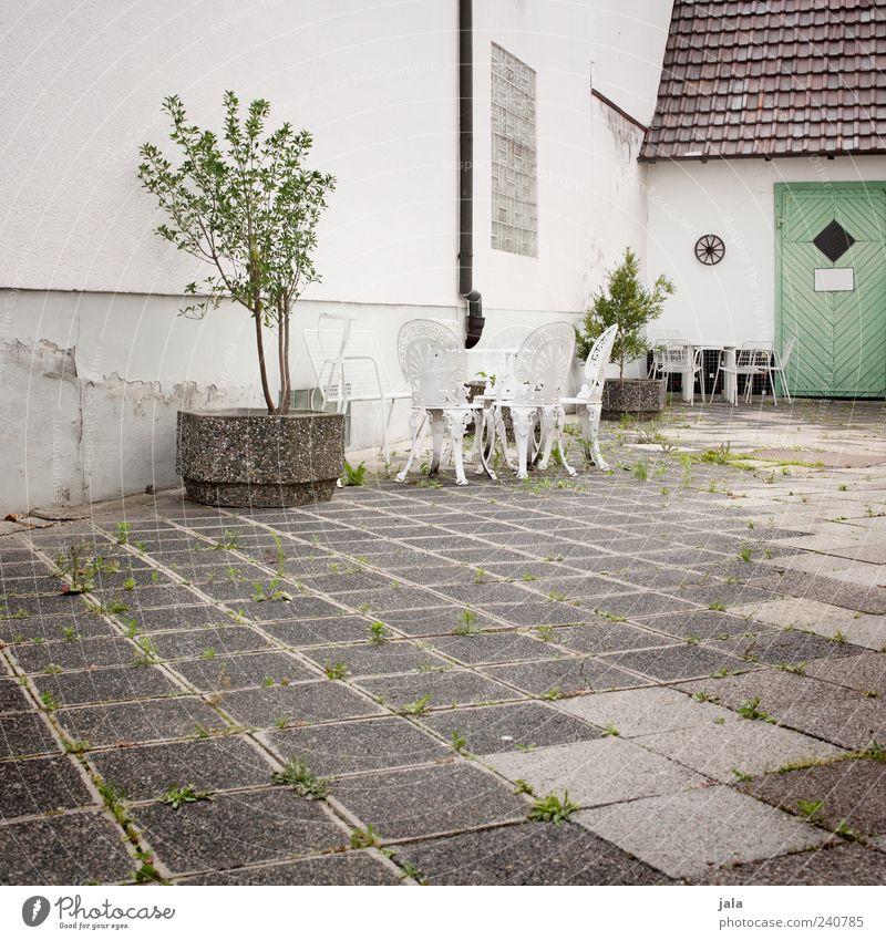 schön gemacht Möbel Stuhl Tisch Baum Grünpflanze Topfpflanze Haus Platz Bauwerk Gebäude Architektur Tür trist grau grün weiß Gartenstuhl Gartentisch