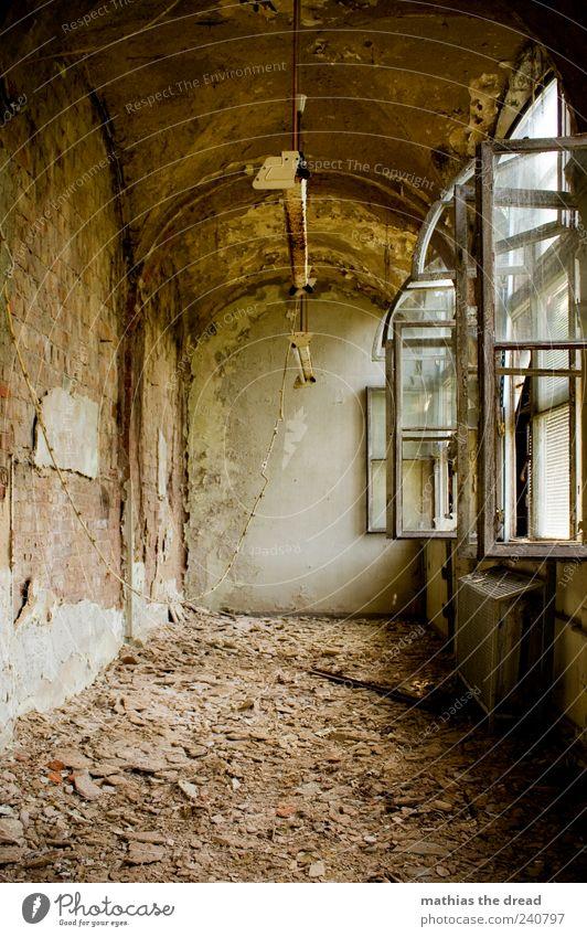 WIE AUF SCHERBEN GEHEN Menschenleer Industrieanlage Fabrik Ruine Bauwerk Gebäude Architektur Mauer Wand Fenster Stein ästhetisch außergewöhnlich dreckig schön