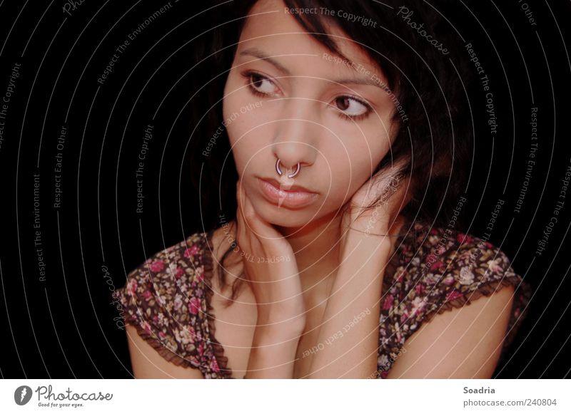 If The Lights Go Out... schön Gesicht Erholung ruhig Meditation feminin Junge Frau Jugendliche Erwachsene Auge 1 Mensch 18-30 Jahre Blumenmuster Rüschen Schmuck