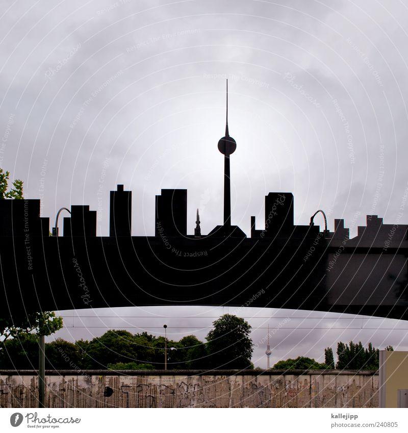 doppelgänger Ferien & Urlaub & Reisen Tourismus Ausflug Sightseeing Städtereise Hauptstadt Haus Blick Silhouette Berliner Fernsehturm Berliner Mauer