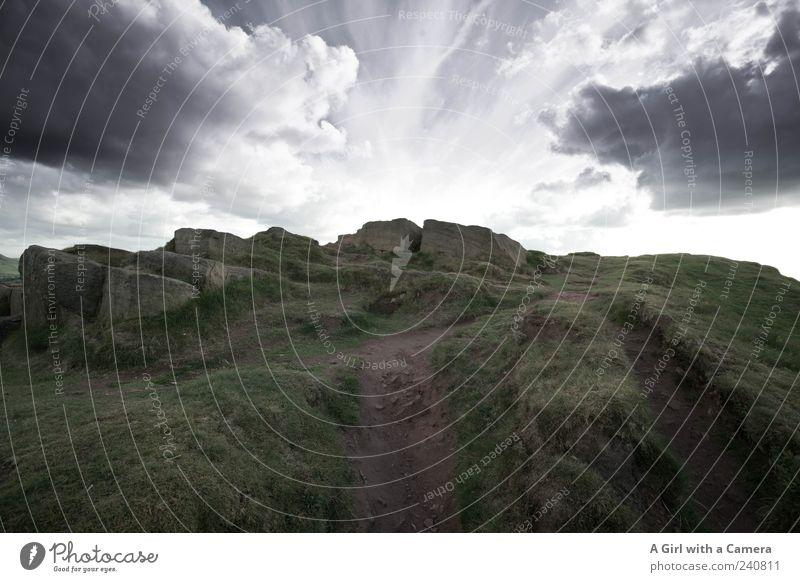 you are always near me Berge u. Gebirge Umwelt Natur Landschaft Himmel Wolken Gewitterwolken Sommer schlechtes Wetter Unwetter Wind Gras Hügel Felsen Gipfel