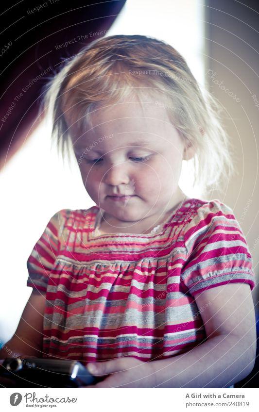 little sweet Mensch Kind Kleinkind Mädchen Kindheit 1 1-3 Jahre gebrauchen beobachten lernen Blick blond Glück schön natürlich niedlich Interesse Fotografieren