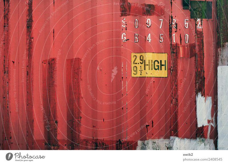 Westpaket Container Containerterminal Lagerhaus Wellblech Metall Schriftzeichen Ziffern & Zahlen Schilder & Markierungen alt eckig trashig gelb rot planen