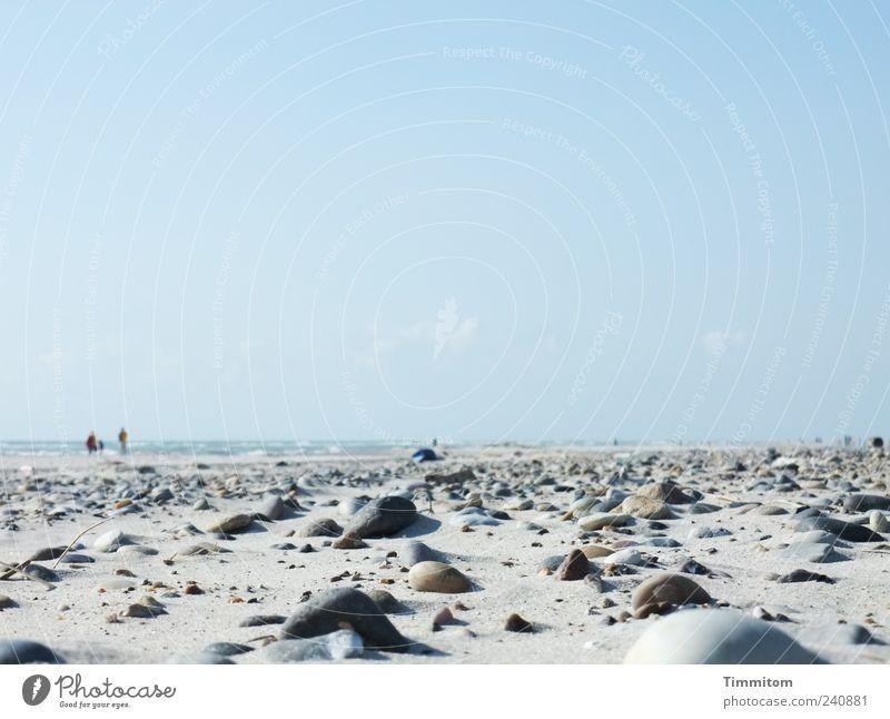 Menschen am Meer Ferien & Urlaub & Reisen Sommer Strand Umwelt Natur Sand Himmel Schönes Wetter Nordsee Dänemark Stein gehen Blick groß blau grau Gefühle