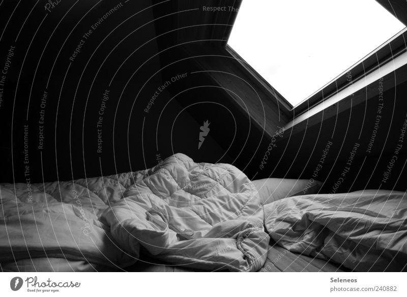 ungemacht Häusliches Leben Wohnung Raum Schlafzimmer Haus Mauer Wand Fenster Dach schlafen dunkel kuschlig weich Schwarzweißfoto Innenaufnahme Menschenleer