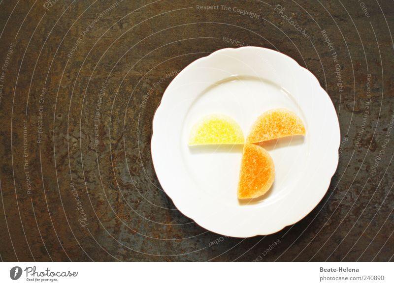 Dolce Vita weiß gelb Gesundheit braun Frucht Ernährung gold Orange Lebensmittel süß genießen Teile u. Stücke Süßwaren Teller exotisch saftig