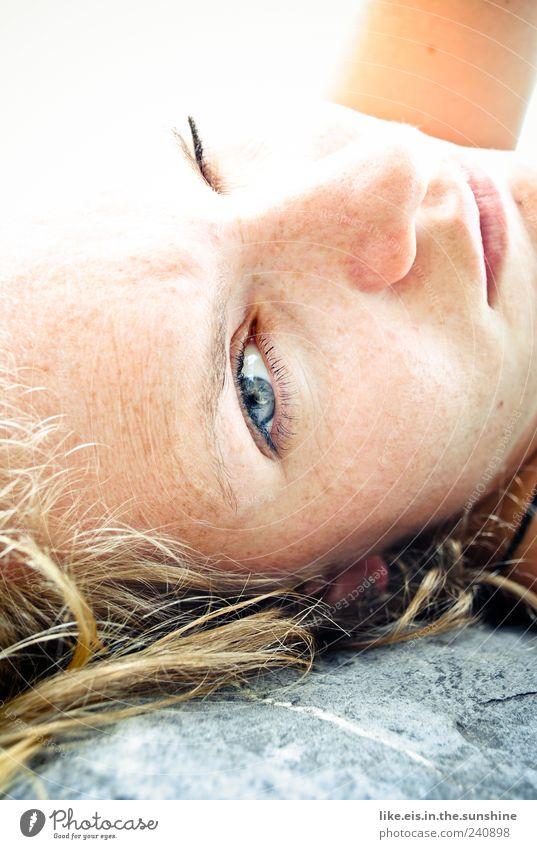 sunny sunday morning Mensch Frau Jugendliche Sommer ruhig Gesicht Erwachsene Erholung Auge feminin Leben Haare & Frisuren Kopf Stein Junge Frau Zufriedenheit