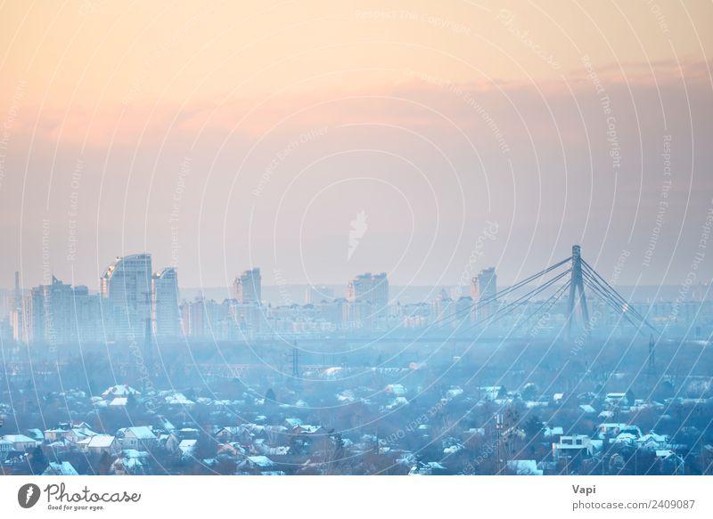 Panoramablick auf den Sonnenuntergang in der Stadt Ferien & Urlaub & Reisen Sightseeing Städtereise Business Landschaft Luft Himmel Wolken Horizont