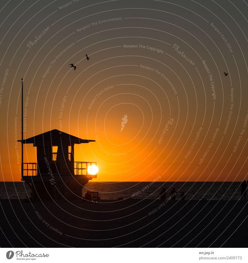 Feierabend Himmel Ferien & Urlaub & Reisen Sommer Landschaft Sonne Meer Erholung ruhig Strand Ferne Tourismus orange Freizeit & Hobby Horizont USA Sommerurlaub