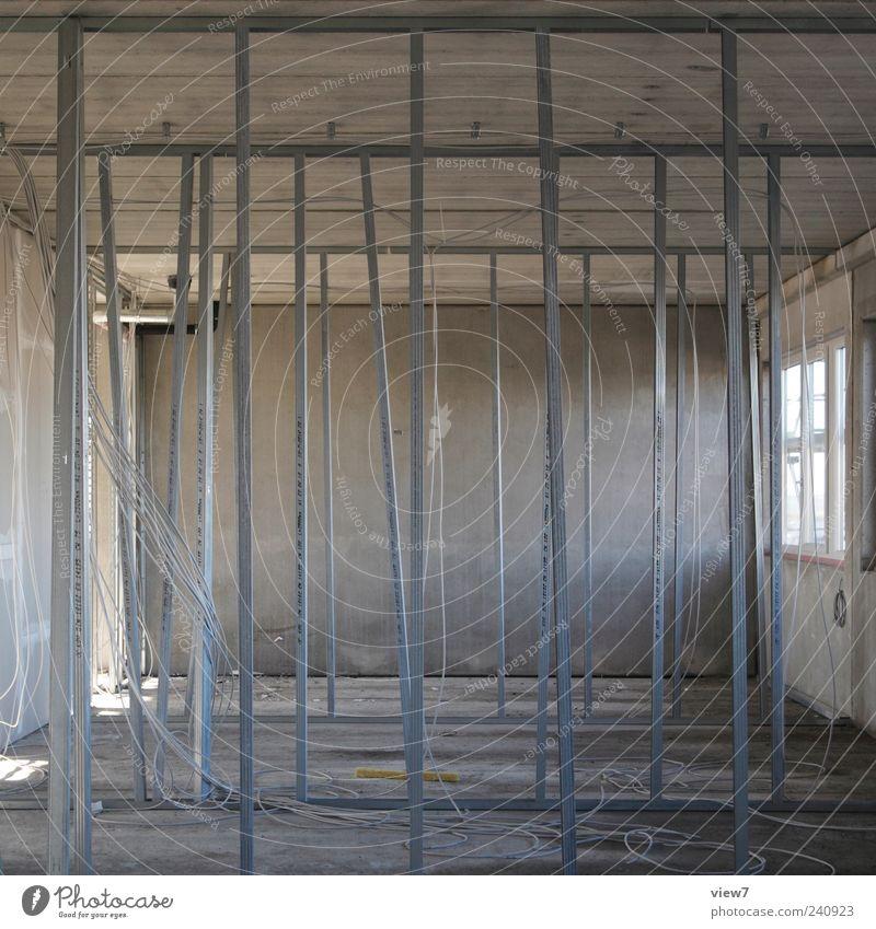 Ständerwand Haus Wand grau Mauer Metall Linie Innenarchitektur Beton modern ästhetisch authentisch neu Kabel Streifen Industrie Baustelle