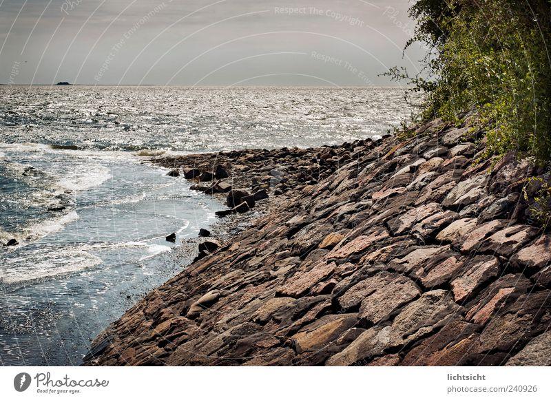 Pellworm Natur Meer Ferien & Urlaub & Reisen Ferne Stein Landschaft Küste Wellen Wetter Horizont Insel Aussicht Spitze Bucht Urelemente Nordsee